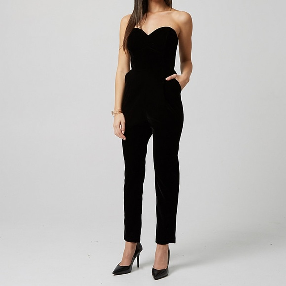 le chateau Pants - Le Chateau Velvet Sweetheart Jumpsuit **must go!**